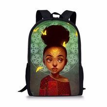 FORUDESIGNS Africano Mochila Meninas Saco de Escola Impressão Dos Desenhos Animados Preto Africano Crianças Saco Bonito Livro Adolescente Meninas Mochilas Mochila(China)