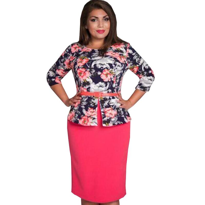2016 plus size 5xl 6xl women summer spring autumn mid dress Cute Straight Print dress Three Quarter O-Neck Knee-Length dresses(China (Mainland))