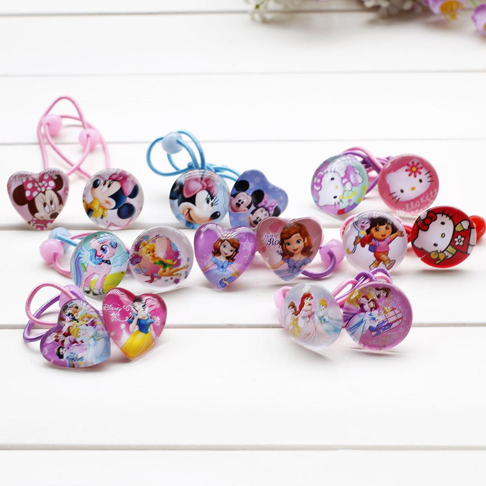 Гаджет  Cartoon Hair Rubber Bands Princess Elsa  Kitty mickey Headwear Girl Hair Rope Hearts Shape Hair Accessories Rubber bands None Одежда и аксессуары