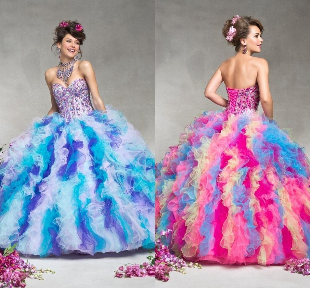 Роскошь кристаллический шарик платья Quinceanera платья vestido de15 anos курто феста фуксия органза бальное платье