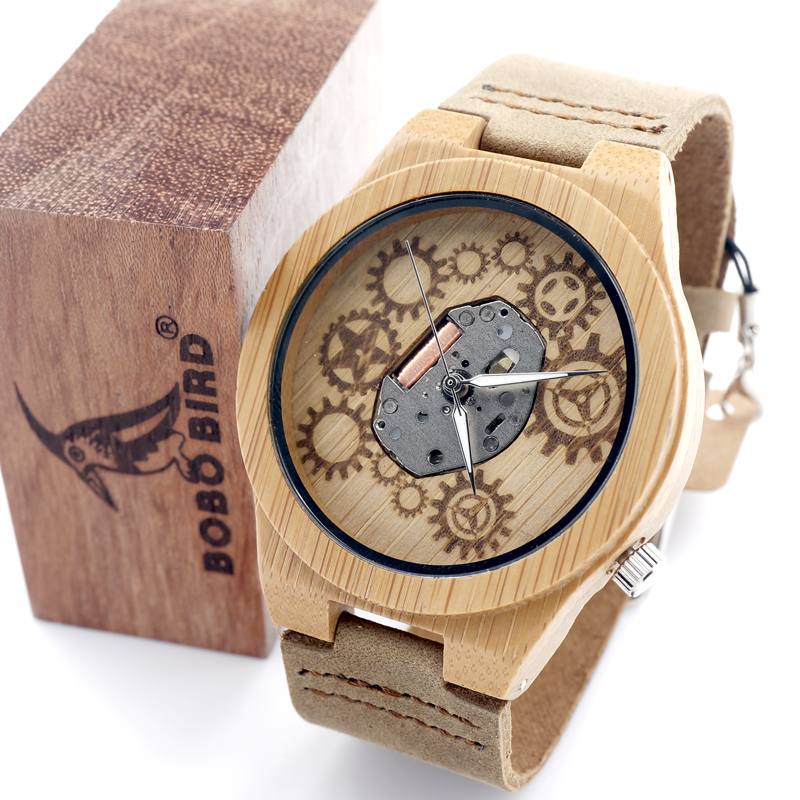 2016 Special Bamboo Wood Watch Miyota Japanese 2035 Movement Outside With Genuine Cow Leather Strap Quartz Analog Wood Watch<br><br>Aliexpress