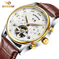 BINSSAW new men leather watch wrist original luxury top brand big automatic fashion sports Mechanical watches