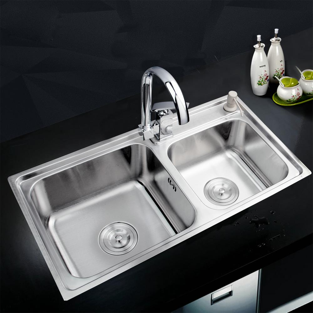Kitchen Vessel Sink : Hello Kitchen Stainless Steel Sink Vessel Kitchen Double Bowl SS ...