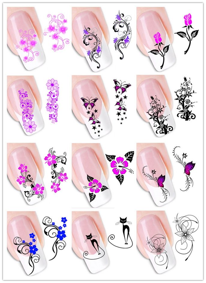 1PC Sticker On Nails Water 2015 Hot newest Summer Style 3D Nail Stickers Motif Flowers Cat Nail Arts For Women 48 Design Option(China (Mainland))