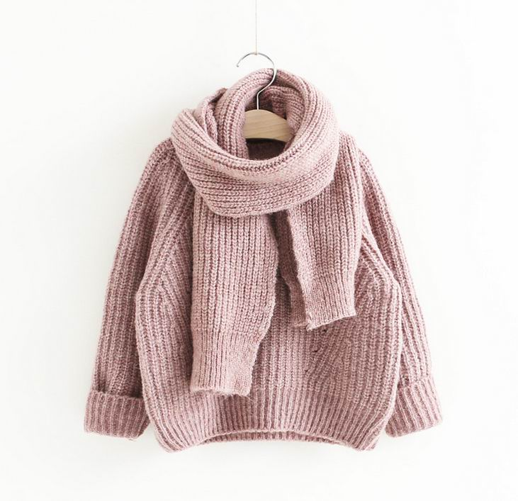 2017 Autumn New Girl Sweater Round Collar Long Sleeve Solid Color Knitted Cotton Sweater With Scarf Children Clothing 692