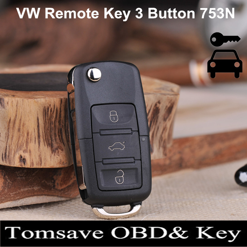 Free Shipping High Quality 3 Button 3B Modified Remote Key 433Mhz With ID48 Chip For VW Passat Tiguan Bora Golf (Model:753N)(China (Mainland))