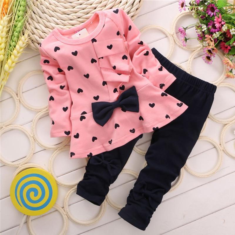 Baby Girl Clothing Set Heart-shaped Print Bow Cute 2PCS Cloth Set Children Cloth Suit Top T shirt + Pants High quality(China (Mainland))