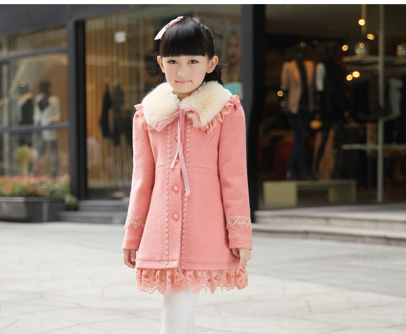 In 2014 autumn and winter children thickened fur collar wool  coat woolen clothes girl  <br><br>Aliexpress