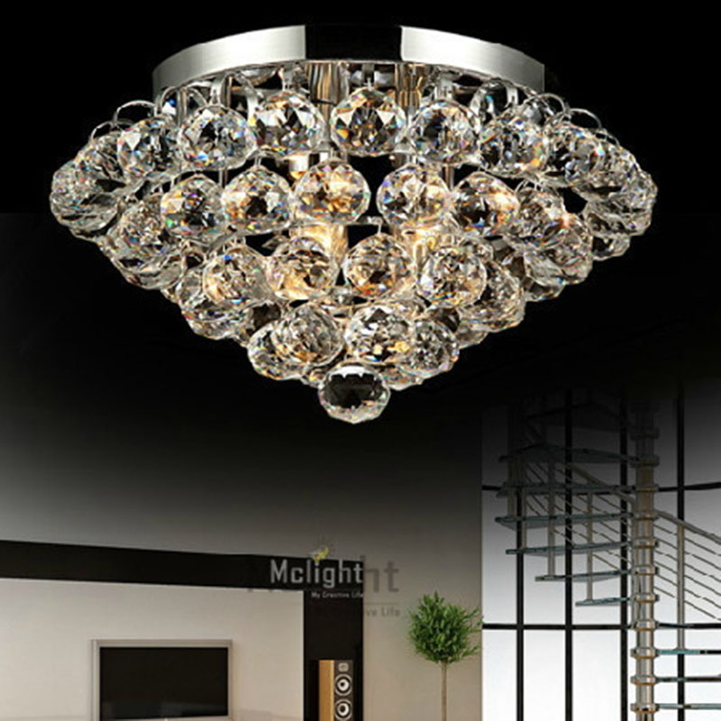 HOT! 20 inch Crystal Ceiling Lights Crystal Lamp Round Crystal Light Fixture lustres de sala Silver or Gold Fast Shipping D500mm<br><br>Aliexpress