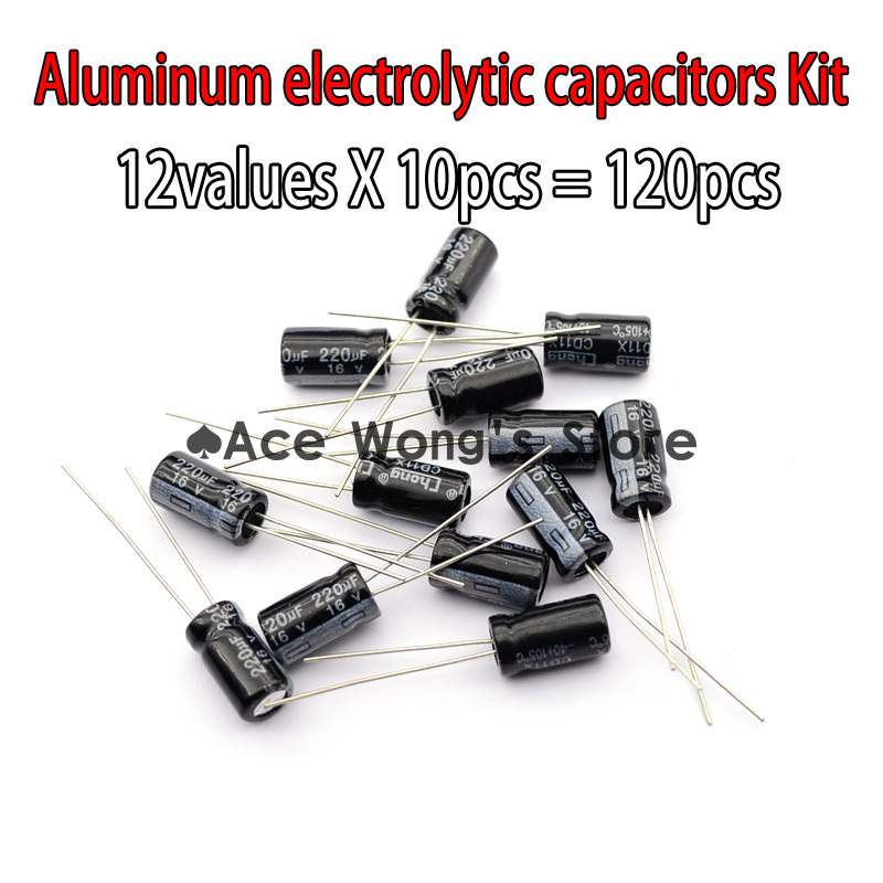 Value Pack! 12valuesX10pcs=120pcs,0.22UF-470UF Aluminum electrolytic capacitors Assorted Kit - Ace Wong's store