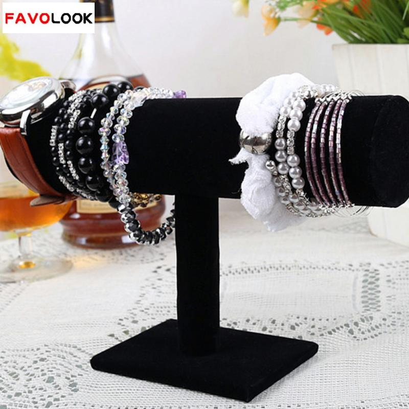 23cm/9.1in Black Velvet Bracelet Chain Watch T-Bar Rack Jewelry Hard Display Stand Holder Jewelry Organizer Hard Display Stand(China (Mainland))