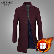 winter men's woolen coat middle-aged men long slim wool coats outerwear 2016 new arrival fashion overcoat drop shiipping(China (Mainland))