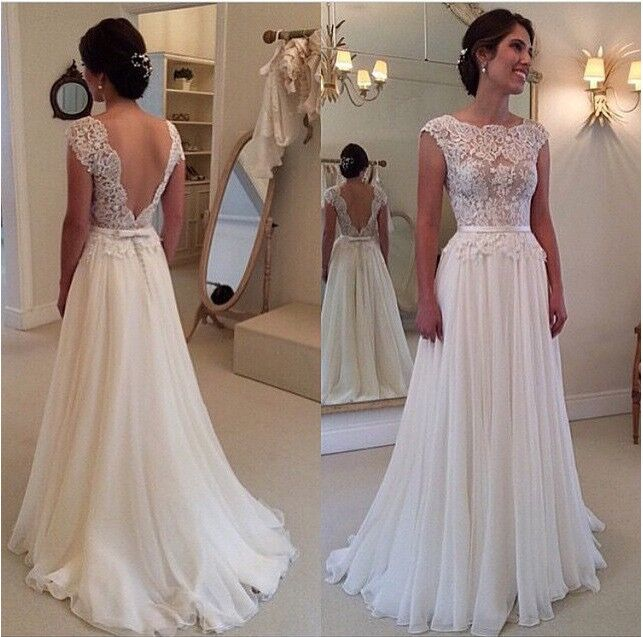 New Design wedding dresses Custom Made vestidos de noiva Sexy Bridal Gown Cap Sleeve Lace wedding dress 2015(China (Mainland))