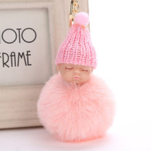 Venda quente Bonito do Sono Do Bebê Boneca Chaveiro Chaveiro de Pele De Coelho Do Falso Fofo Pom Pom Mulheres Bugiganga Saco Chaveiro Carro presente(China)