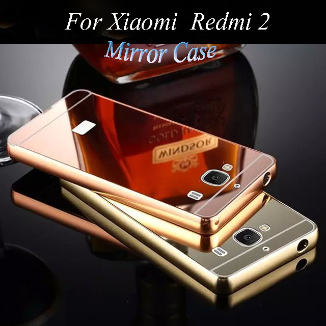 Xiaomi Redmi 2 Prime 2A Mirror Acrylic Back Cover & Aluminum Metal Frame Bumper Phone Shell Case For 4.7-inch Hongmi 2 Redmi2(China (Mainland))