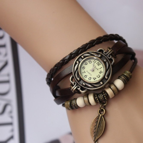 Bracelet Watch For Ladies With Leather Strap