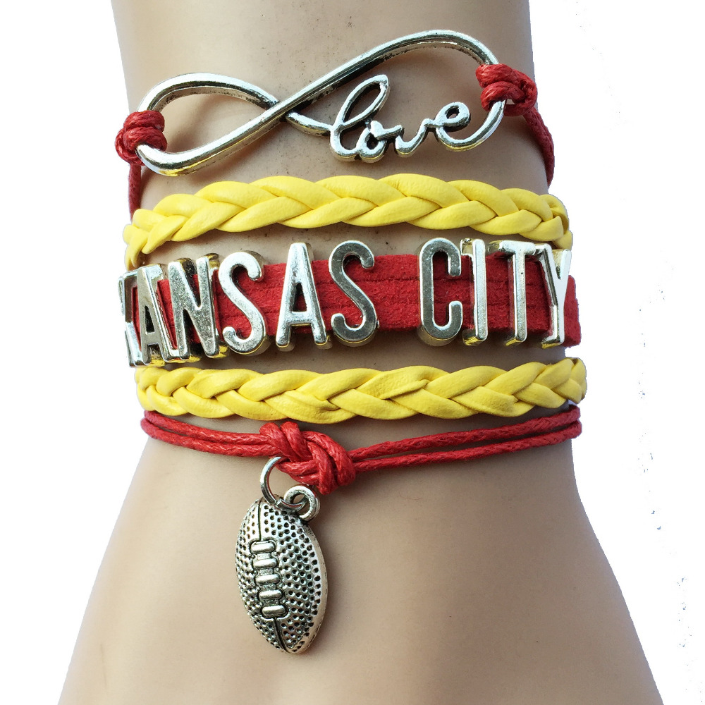 Drop Shipping Infinity Love Kansas City Province Name NFL Football Team Braceles- Red with Yellow Braid Leather Sports Handmade(China (Mainland))