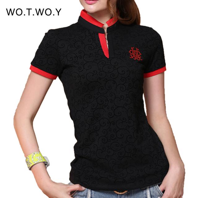2016 мода печать футболка женщины V шеи стенд воротник тонкий женщин футболки бренд черный красный тис майка роковой хлопок Большой размер 3036