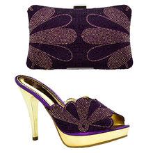 Nova Chegada Sapatas de Harmonização e Saco Definir Decorado com Strass Festa de Sapato e Bolsa para Nigéria Mais Recentes Sapatos De Luxo Mulheres 2018(China)