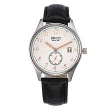 Srozi vestido clásico de la marca reloj para hombre de cuero rosa oro manos Ribbed Dial diseño marca de relojes de cuarzo con fecha