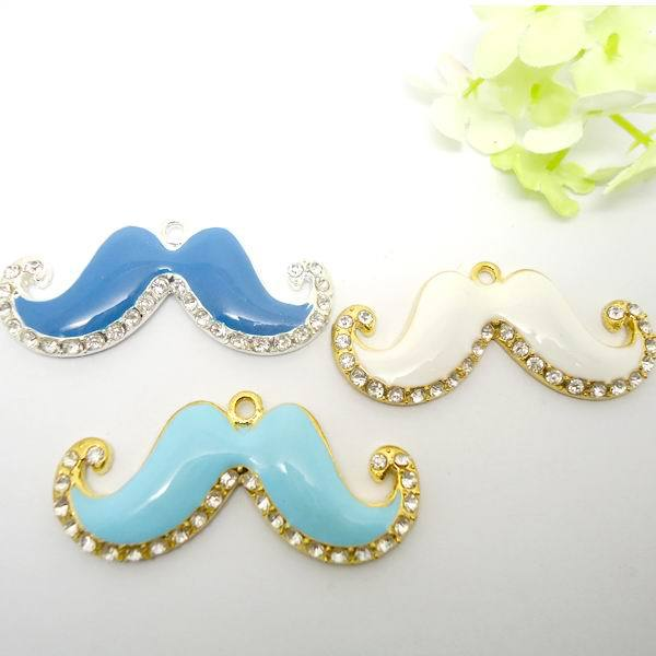 Wholesale Fashion Crystal Goatee Charm Pendant For Jewelry Necklace Making Three Color 24pcs(buyer can choose color)(China (Mainland))