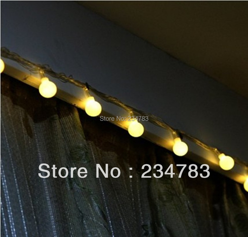 Warm White LED Ball Linkable Curtain String Light, 220V 10M/100 Globe Fairy Lights 8 Function Modesfor Christmas, Party, Wedding - Wishled Tech store