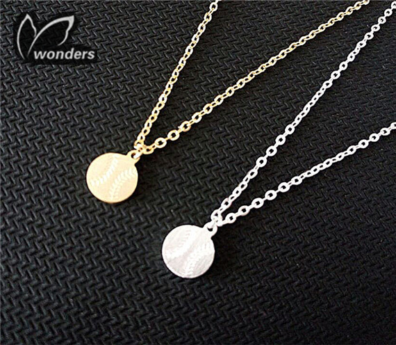 10pcs/lot 2015 Punk Jewery Gold Silver Stainless Steel Dainty Baseball Ball Charm Necklace for Women and Men(China (Mainland))