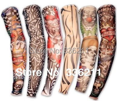 5 PCS new mixed 100%Nylon elastic Fake temporary tattoo sleeve designs body Arm stockings tatoo for cool men women Free shipping(China (Mainland))