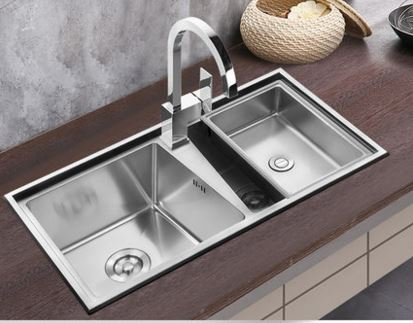 Free shipping bathroom 304 stainless steel thick hand sink double trough kitchen dishes wash basin dishes(China (Mainland))