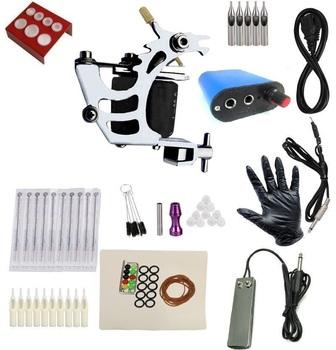 Cheap beginner Complete Tattoo Kit Machine Black Ink Power Pedal Needles Grip