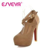ESVEVA fashion platform sexy high-heeled shoes thin high heels round toe shoes women's pumps Wedding Shoes size 34-43