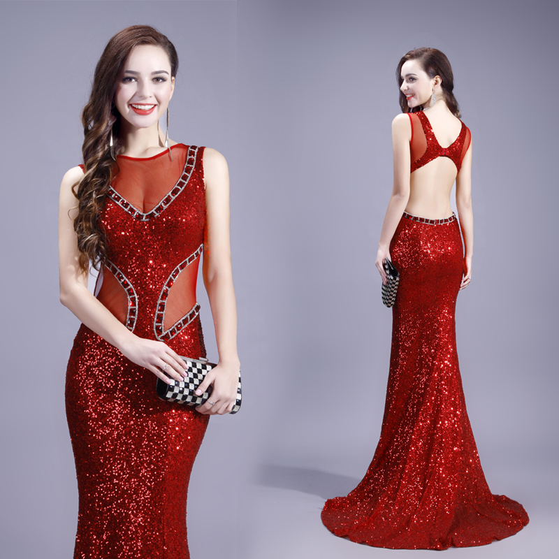 Ball Lily In Stock Sexy Red Mermaid Backless Evening Dress Sequined Sweep Train Long Formal Dresses TM3(China (Mainland))