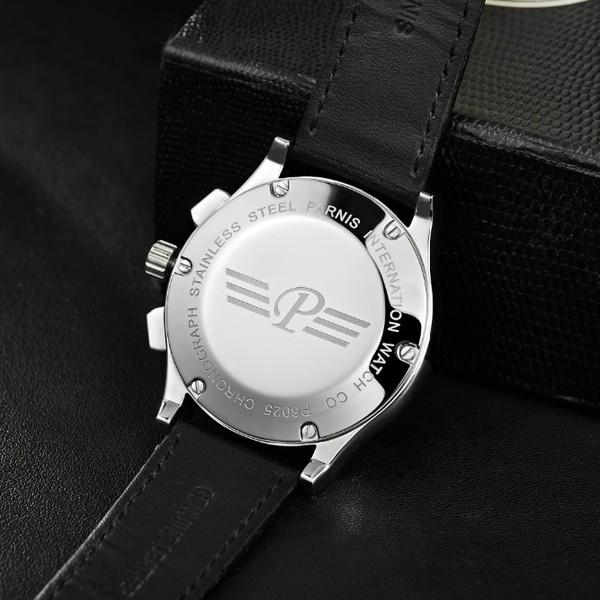 2016 Горячей Продажи Парнис 41 мм PVD Дело Хронограф мужские Часы бесплатная доставка Кварцевые Наручные Часы