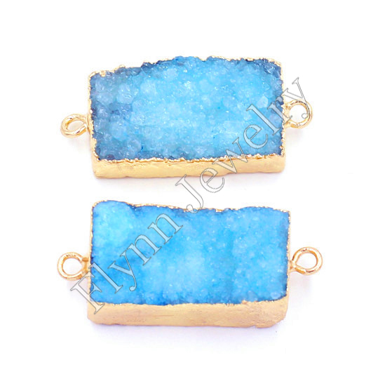 Gold Plated Dye Blue Natural Stone White Crystal Druzy Connector Pendant Charms Fashionable Jewelry 10pcs