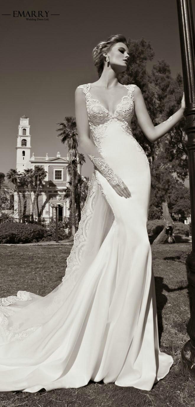 Sz263 romantic lace mermaid open back wedding dresses 2016 for Deep back wedding dress