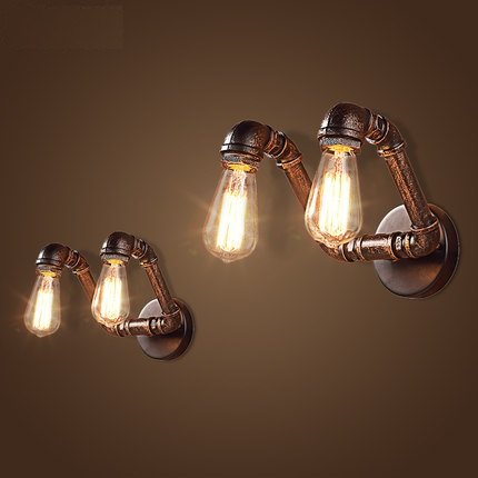 Фотография Loft Style Double Water Pipe Lamp Industrial Edison Wall Sconce Antique Vintage Wall Light Fixtures For Home Lighting Lampara