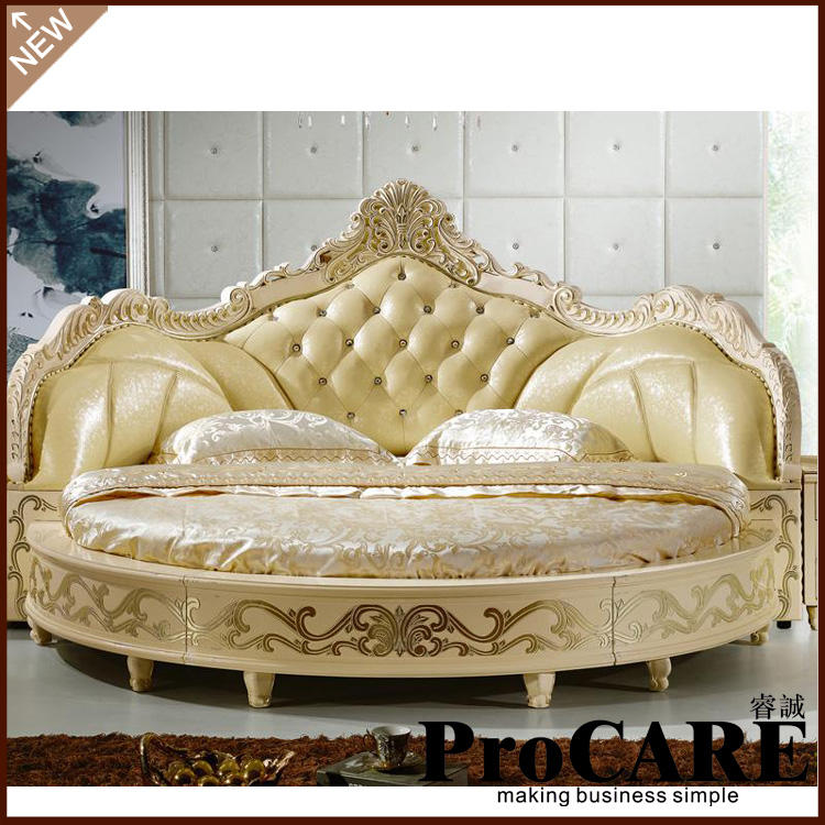 Modern european elegant noble style king size round bed for Lit king size