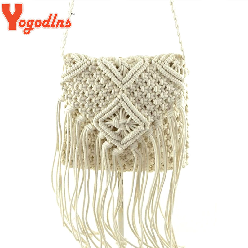 ... Crochet Fringed Messenger Bags Tassels Cross Bag-in Shoulder Bags from