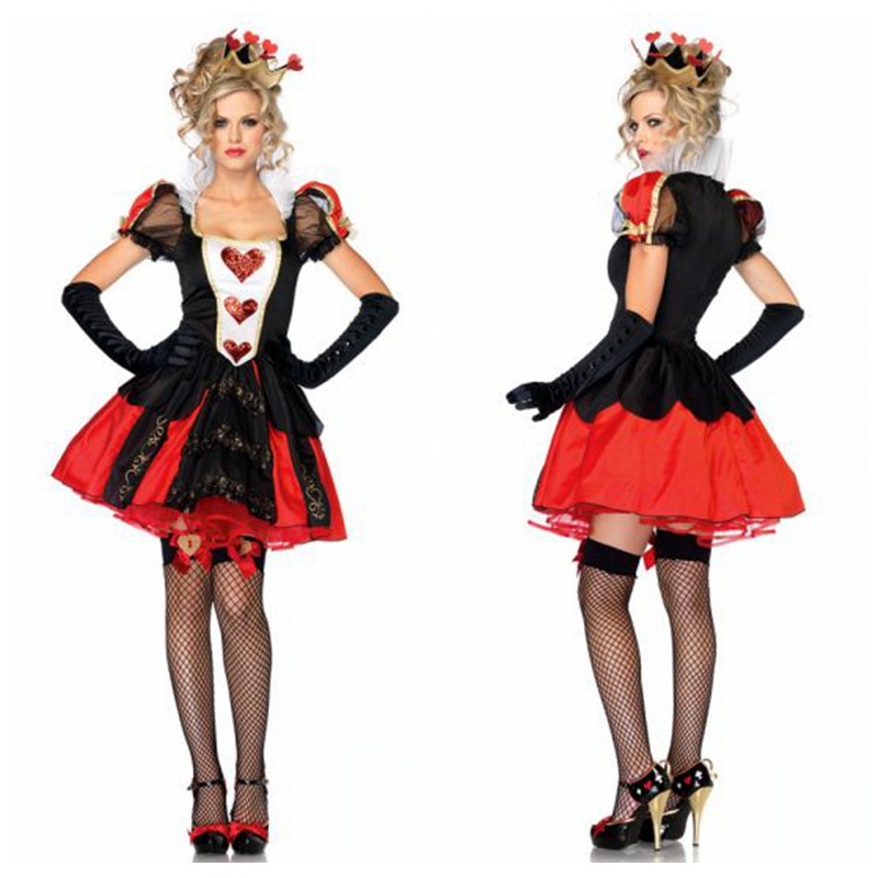 The new Queen of Hearts dress costumes /European nobility princess dress/adult halloween costumes plus size w280-20(China (Mainland))