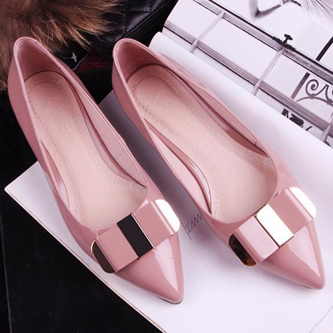 Free shipping 2014 new Korean solid OL fashion pointed toe womens shoes ladies single shoes women elegant bow flats<br><br>Aliexpress