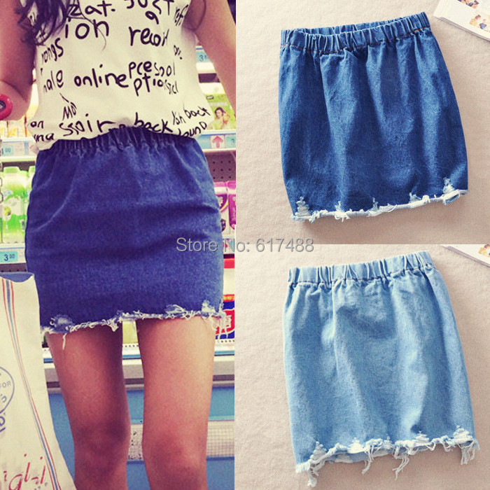 2015 Summer Women New Fashion Vintage Wash Denim Skirt Worn Torn Edge Elastic High Waist Skirts Jeans A-line Short Womens - KF Store store