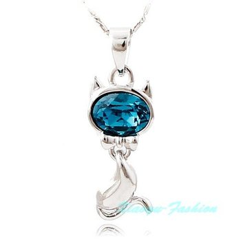 Designer platinum plated african Crystal zircon cute cat pendant necklace stylish necklace jewelry N708 free shipping