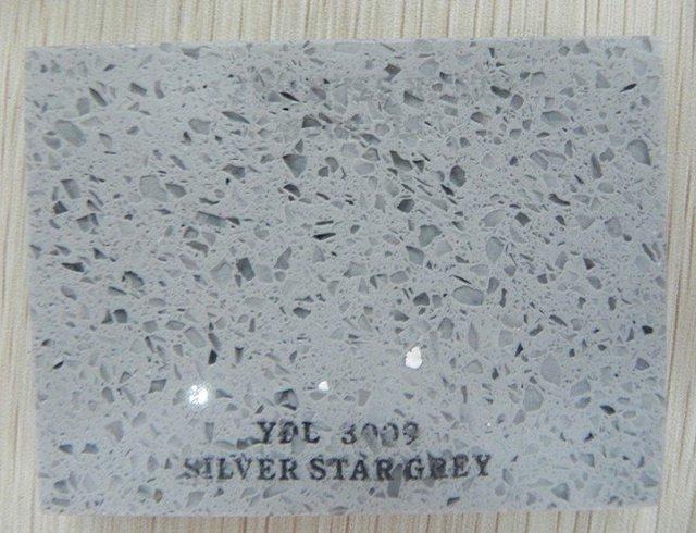 High Cost Performance Quartz Stone Slab For Countertops/Silver Star Grey