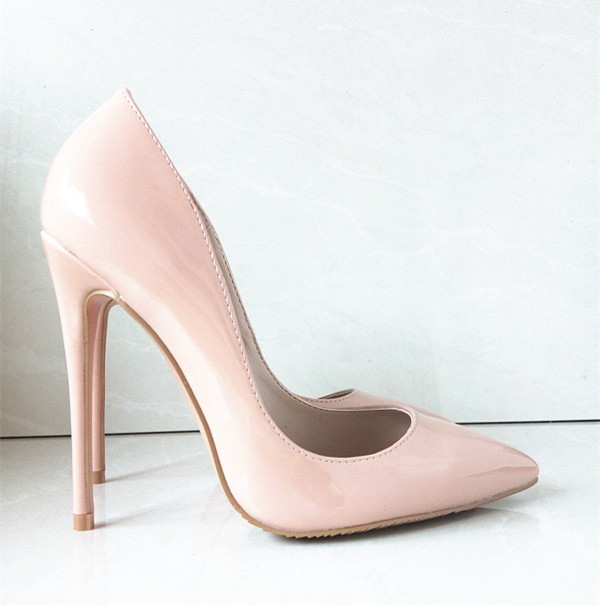 Nude Patent Women's Fashion Pumps PU Leather High Heels Fashion Ladies Shoes Pointed Toe Thin Heels Wedding Shoes Pumps,B-003(China (Mainland))