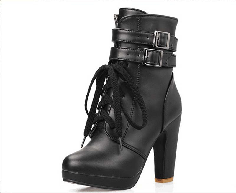 New Fashion Women boots Gladiator High Heels Platform boots Sexy buckle Straps lace up Shoes boots Size 34-43<br><br>Aliexpress