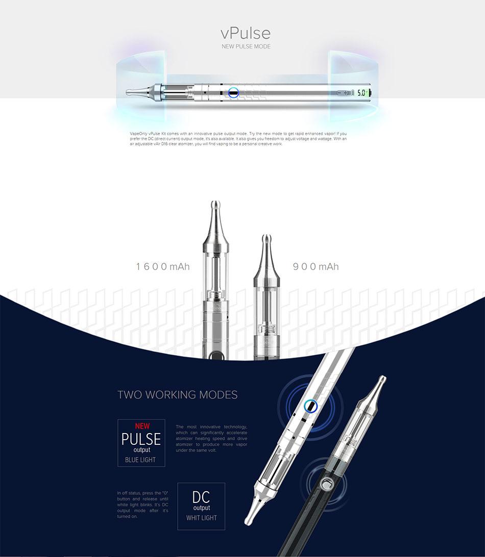 ถูก เดิมVapeOnly vPulseชุดมี900มิลลิแอมป์ชั่วโมงความจุของแบตเตอรี่2มิลลิลิตรvAir D16ชัดเจนCartomizerบุหรี่อิเล็กทรอนิกส์เต็มชุด