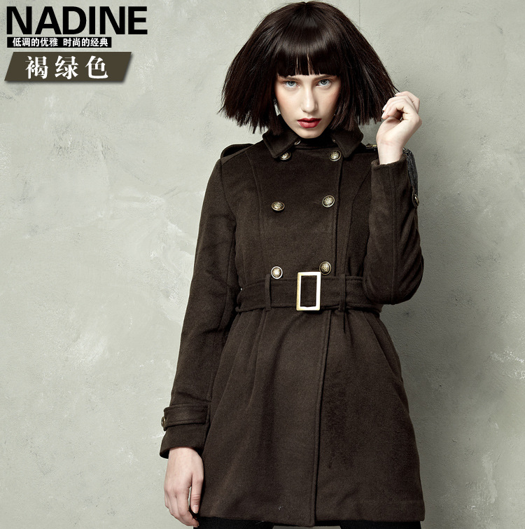 women jacket women winter coat  New winter temperament thick coat and long sections woolen coat (with belt) Free Shipping