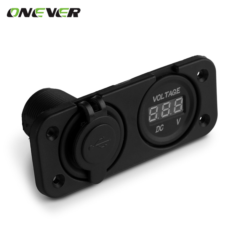 Car Charger Modification Digital Voltmeter Socket Adapter for Motorcycle Boat Riding Mower Tractor Dual USB Port 12V(China (Mainland))