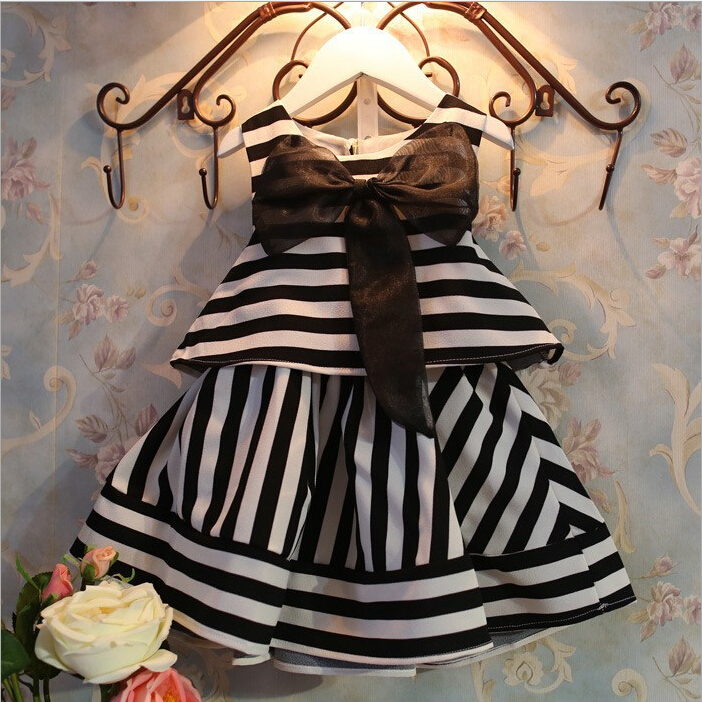 2015 summer Princess dress Girls party dresses Children Kids clothes Black white striped + bowknot - The only baby flagship store