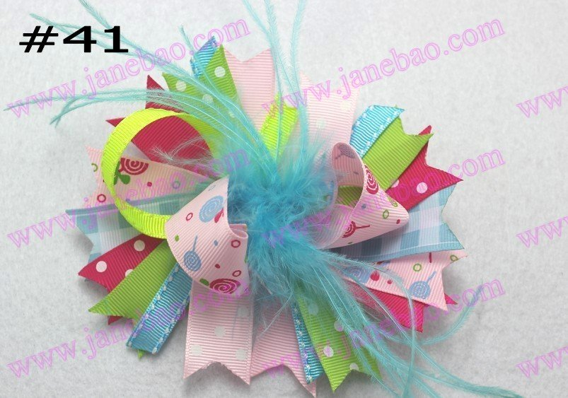 free shipping 240pcs feather hair bows Girl funky...